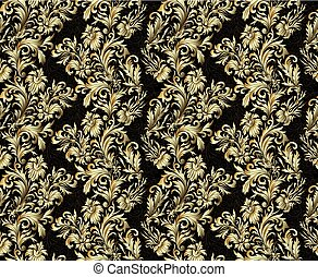 Gold damask ornaments seamless.