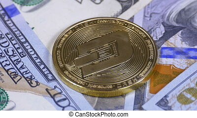 Gold Dash Coin Cryptocurrency and Bills of Dollars are...