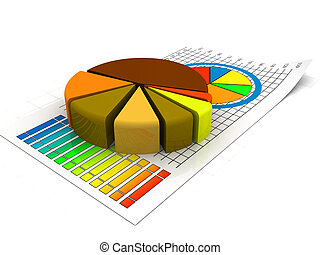 Gold Data Charts. Business pie chart