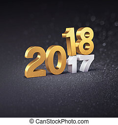 Gold Date 2018 concept for New Year