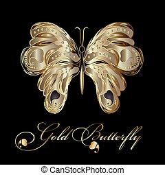 Gold decorative textured butterfly.