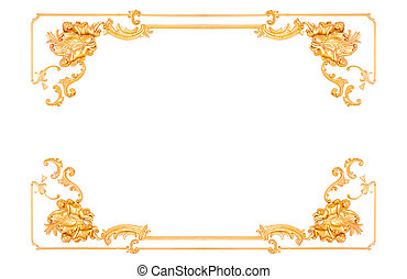 Gold Decorative Vintage frame in interior on white background