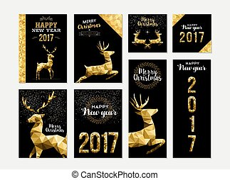 Gold deer greeting card template set for christmas