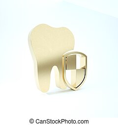 Gold Dental protection icon isolated on white background. Tooth on shield logo. 3d illustration 3D render