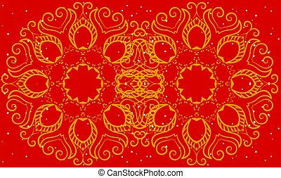 gold design art on abstract red background
