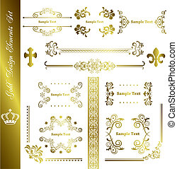 Gold design elements set