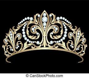 Gold diadem with diamonds on black background
