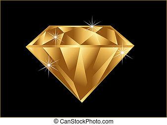 Gold diamond with brilliant sparkle jewelry