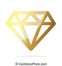 Gold diamond icon. Vector illustration
