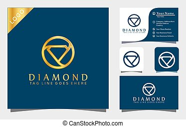 Gold Diamond logo design inspiration vector illustration with line art style,  fashion, cosmetic, modern company icon business card