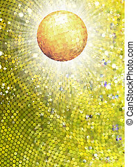 Gold disco ball on burst with mosaic detail. EPS 8