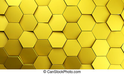 gold displaces hexagons background.3d illustration render.