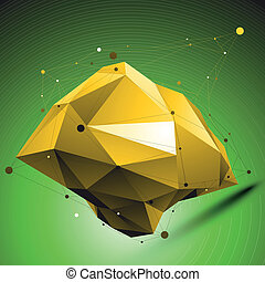Gold distorted 3D abstract object with lines and dots placed ove