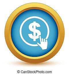 Gold dollar click icon