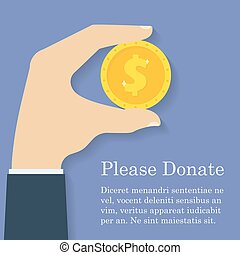 Gold dollar coin icon in man hand. Donation, giving money concept