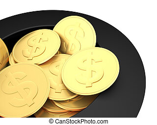 Gold dollar coins close up