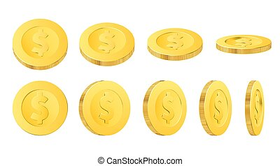 Gold dollar coins, isolated realistic golden money