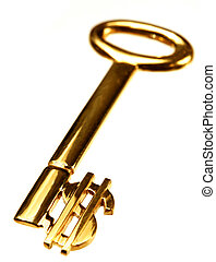 A gold key with the dollar currency symbol