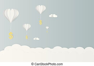 Gold dollar sign hanging with balloon and clound paper art vector illustration design for business and finance concept