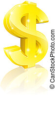 Illustration of a big shiny gold dollar currency sign