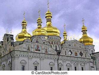 The gold domes of Kiev-Piechersk large Monastery in Kiev, Ukraine