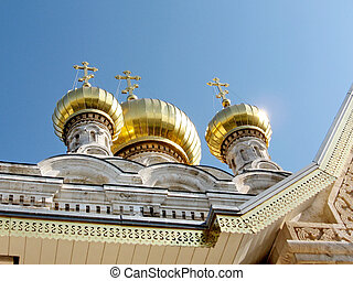 Gold domes of the Russian Orthodox Church of Saint Maria Magdalena in Jerusalem