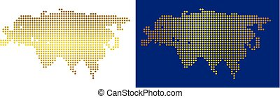 Gold Dot Eurasia Map - Gold dotted Eurasia map. Vector...