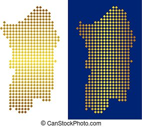 Gold Dot Italian Sardinia Island Map - Gold Colored rhombic...