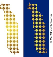 Gold Dot Togo Map - Gold rhombic Togo map. Vector territory...