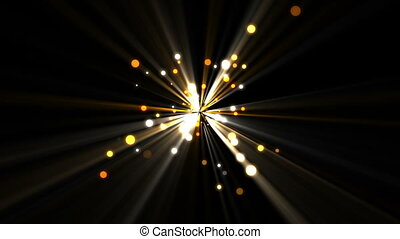 Gold dots moving and coming from a shining star against a...