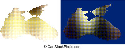 Gold Dotted Black Sea Map - Gold Colored rhombic Black Sea...