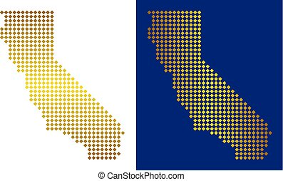 Gold Dotted California Map