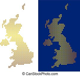 Gold Dotted United Kingdom Map