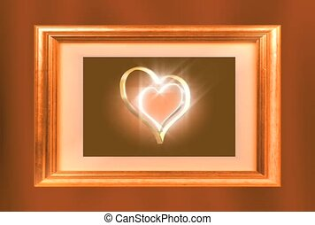 Gold Double Heart in a Frame