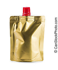 gold doy-pack on white background