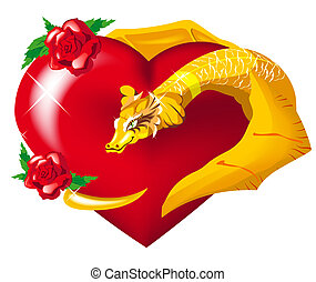 Gold dragon heart hugs - Dragon heart hugs. Illustration in...