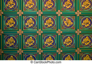 gold dragon on Green background