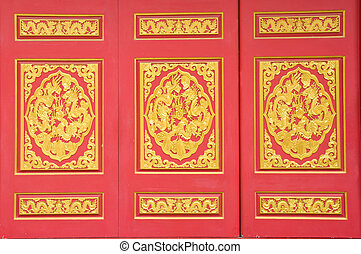 gold dragon on red background