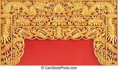 Gold dragon on the red wall