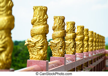gold dragon on the shrine balcony
