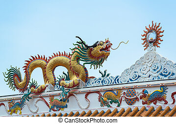 gold dragon on the shrine roof