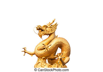 Gold dragon statue isolated