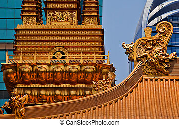 Gold Dragons Golden Temple Roof Top Jing An Tranquility Temple Shanghai China Richest Buddhist temple in Shanghai