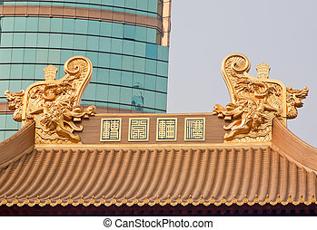 Gold Dragons Roof Top Jing An Temple Shanghai China