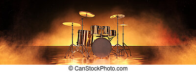 Gold drum kit in golden background. 3d rendering