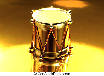 Gold Drum - Photo of a Gold Drum on a Gold Background With...