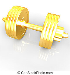 Gold dumbbells on a white background