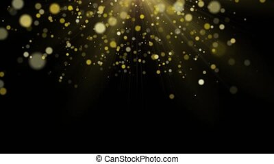 Gold dust bokeh on black background