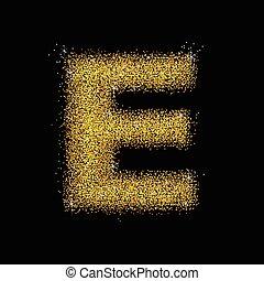 Gold dust font type letter E