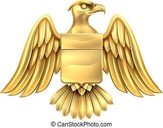 Gold Eagle Design - An eagle gold metal shield heraldic...
